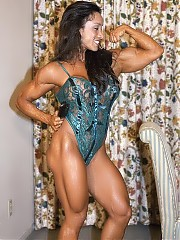 Denise Masino sexiest bodybuilding woman hitting shots in lingerie