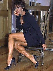 Diana Dennis poses in six different dresses show off her fabulous legs, particularly in the high heels