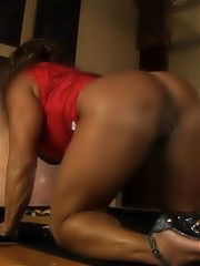 The muscular beauty DD masturbates on the pool table exposing her big swollen clit and pretty pussy.
