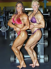 Carri Ledford and Sherry Smith pose in the gym