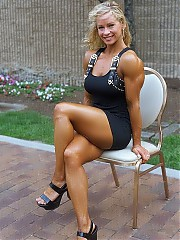 Muscular women, waiting for you in the hotel room.