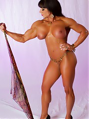IFBB Pro bodybuilder Marina Lopez posing without clothes and showing you her large girl parts